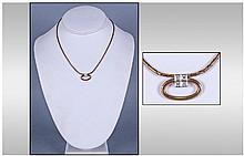9ct Gold Diamond Pendant, set with four diamond