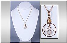 9ct Gold Pendant, set with central opal and