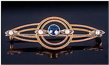 Edwardian Elegant 9ct Gold Set Sapphire And Seed