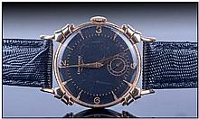 Gents 14ct Gold Longines Wristwatch, black matte