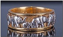 18ct Gold Etruscan Style Two Tone Band Ring,