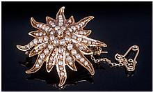 Antique 14ct Gold And Seed Pearl Set Starburst