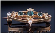 Victorian Art Nouveau 15ct Gold Set Emerald And