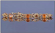 Edwardian Style 9ct Gold Stone Set Bracelet,