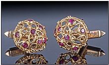 Gents 18ct Gold Cufflinks, of open work design,