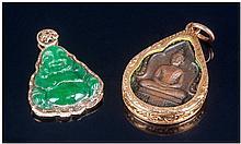 Carved Jadeite Stone Buddha Pendant, in 14ct gold