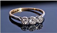 18ct Gold And Platinum Set 3 Stone Diamond Ring.