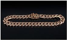 Gents 9ct Gold Flat Curb Bracelet. Fully