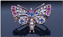 Late Victorian 18ct Gold Set Very Fine Bug Brooch