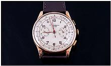 Gents 18ct Gold Chronograph Wristwatch, cream dial
