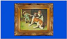 Oil On Canvas Depicting Children Playing With A