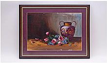 Framed and Glazed Oil on Board depicting Still
