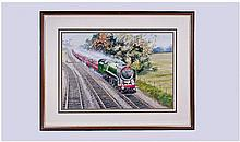 LES PACKHAM 'Heyday Of Steam', Framed Watercolour,