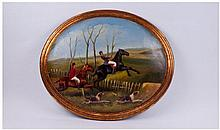 Oval Painted Plaque Depicting A Hunting Scene.