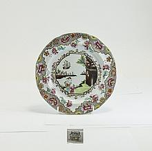 19thC Spode New Stone Plate decorated with ''Ship'' pattern number 3067 c.1