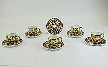 Royal Crown Derby Early Imari - Traditional Pattern Set of 6 Coffee Cans and 5 Saucers. Pattern 2451, Traditional Imari. Date 1915. All Pieces are In Mint Condition.