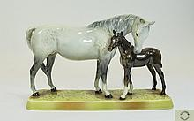 Beswick Hand Painted Horse Figures ' Mare and Foal ' Grey Mare with Brown F