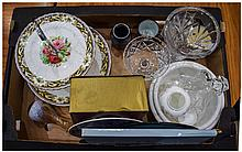 Box of Assorted Ceramics and  Glass Ware including cake stand, Royal Crown Derby boxed item, Royal Worcester modern wall plaque etc