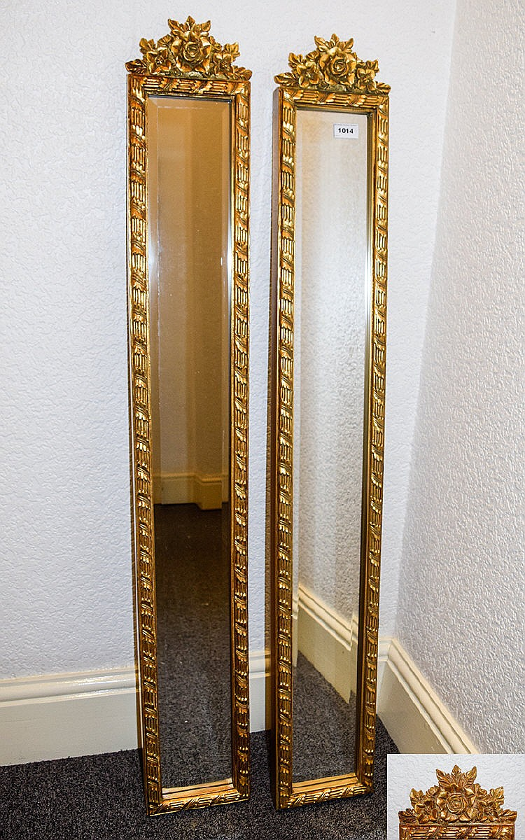 Ornate bevelled glass mirrors two long rectangular for Long glass mirror