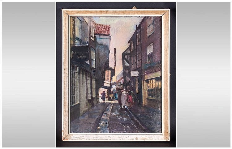 Pastel Drawing Of The Shambles York Figures In The Street, Signed A.Collins