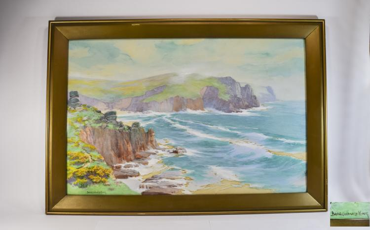 JohnBaragwanathKing1864-1939CornishCoastNearLandsEndWatercolour