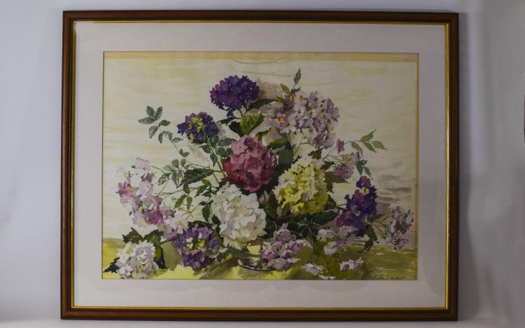 PhyllisHibbert1903-1971Stilllife-Study,MixedFlowersInaGlassVa