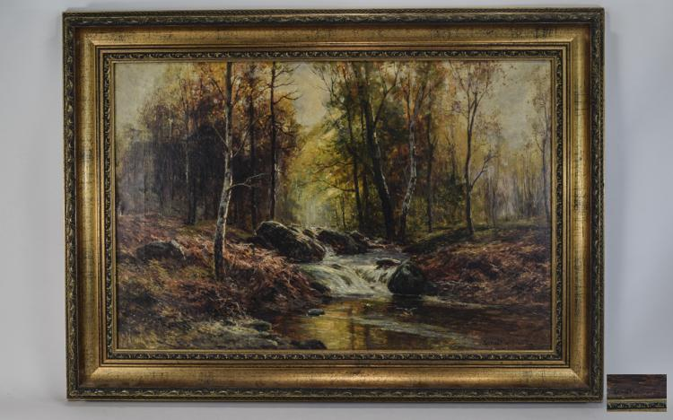 ErnestWalbourne1872-1927'WoodlandScenewithSteam'OilonCanvas.S