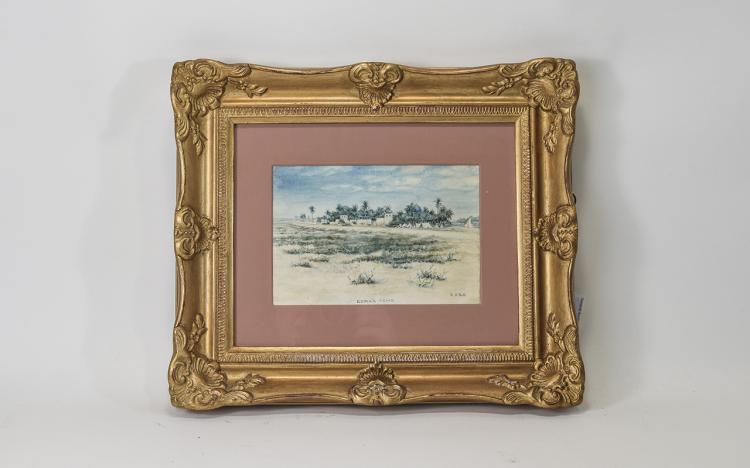 W.A.NorthTitled'Oasis'Ezra'sTombWatercolour.SignedandDated1897