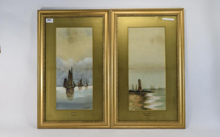 WTurnerPairofFramedWatercolours,seascapes,Signedandtitled'Onthe