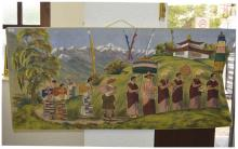 LargeTibetanWoolenWallHanging/Tapestry,DepictingMonks&MountainousS