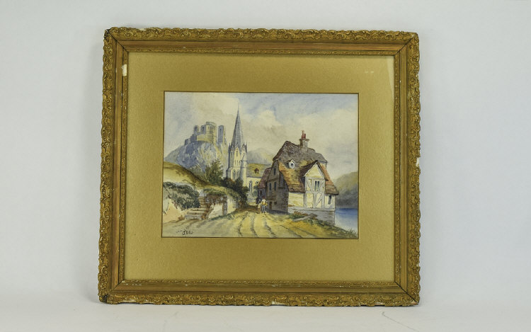 FramedWaterColour;ContinentalRiveredge,buildingsandfigures.Height