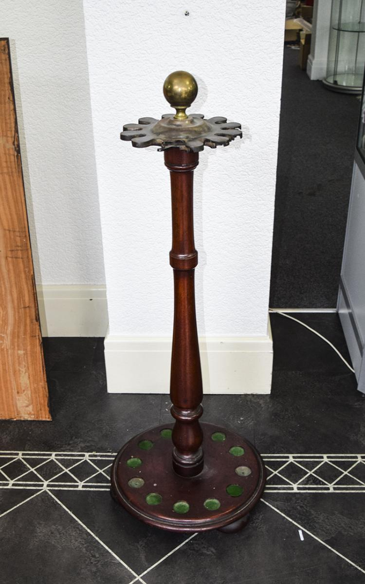 VictorianMahoganyCue/Rack/Stand,toHold12CueswithBrassBallTop.
