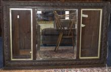 Early 20thC Carved Oak Frame With Central Bevelled Mirror Between 2 Glazed
