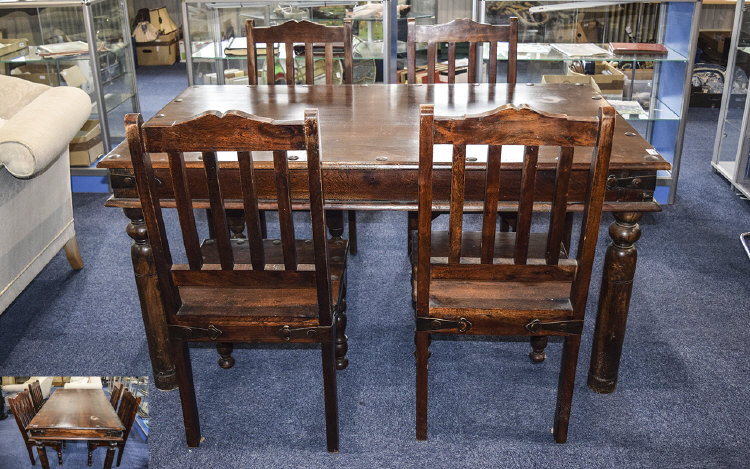 CountryStyleDiningTableWith4Chairs59inchesx36inches