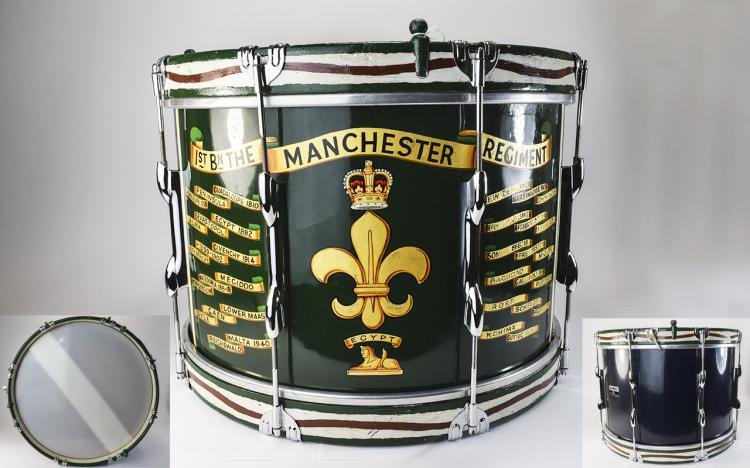MilitaryInterestPaintedTenorDrum,TheManchesterRegiment,Bearingthe