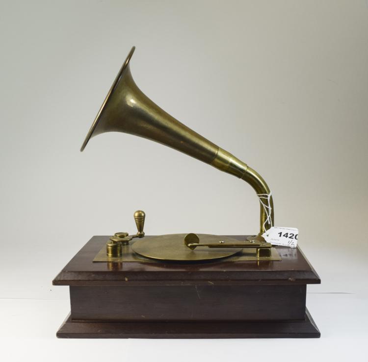 ModernMusicalBoxBrassMountsInTheFormOfAGramophoneRaisedOnAWoo