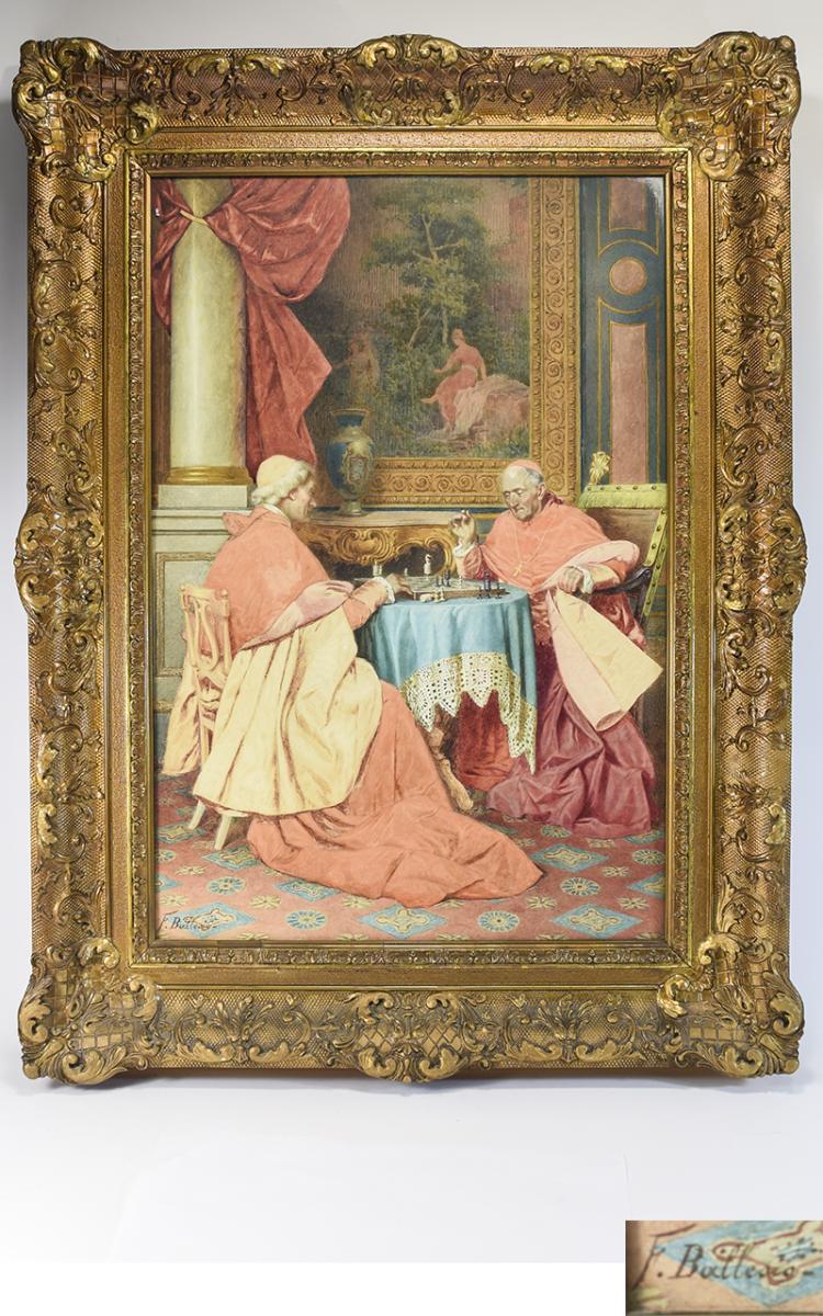 FrancescoBallesio(Italian,1860-1923)InteriorSceneCardinalsSatPlayin