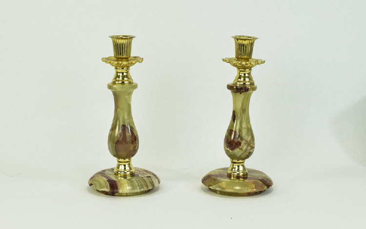 APairof1960'sOnyxCandlesticks.8.25InchesHigh.