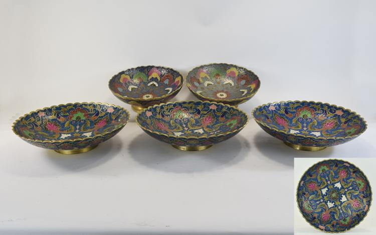 CollectionofFiveEnamelledBrassBowlswithscallopededgesfloraldecor