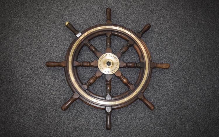 JohnHastie&Co.LtdGreenockShipsWheel.OakBrassMountedShipsWheel,