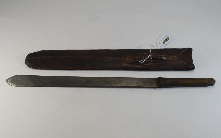 Early20thCAfricanThinMacheteWithLeatherScabbard,Length20½Inches