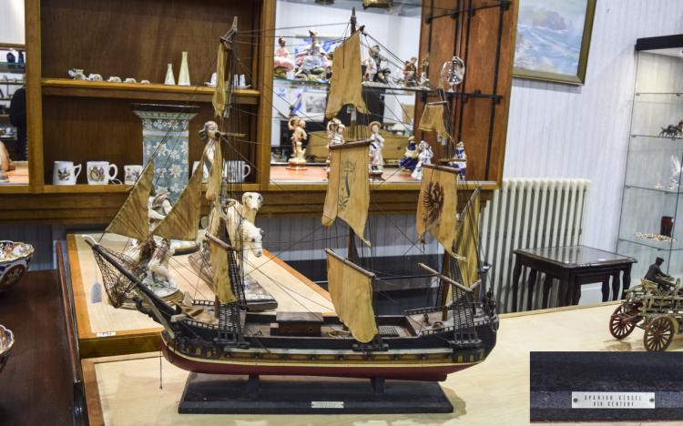 ModelSpanishXIXthCenturySailingShip,wooden,threemastedvesselwith