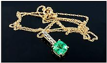 18ct Yellow Gold Set Columbian Emerald and Diamond