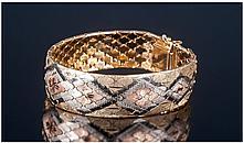 18ct Gold 3 Colour Way Ladies Bracelet Of Good
