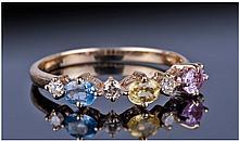 14ct Gold Diamond & Gemset Ring, Set With Three