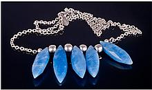 Silver Necklace Set With Five Faceted Blue
