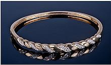 9ct Gold Diamond Set Hinged Bangle, The Front Set