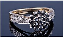 9ct Gold Diamond Cluster Ring, Set With A Central
