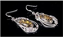 Pair Of Silver Drop Earrings, Each Set With A