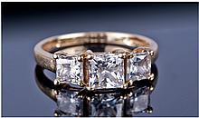 9ct Gold Dress Ring, Set With Three Princess Cut